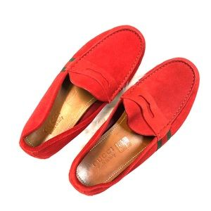 Gucci Driver Loafer Red Suede shoes